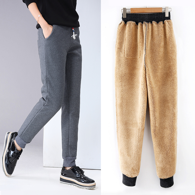 Winter Women Fleece Pants Sweatpants Women's Casual Stretch Feet Thick Velvet Warm 5XL Pants Trousers Sportswear For Female 0918 2