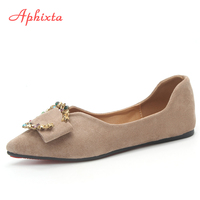 Aphixta Loafers Flat Shoes Women Flat Flock Spring Autumn Metal Decoration Sapato Feminino Cow Suede Slip