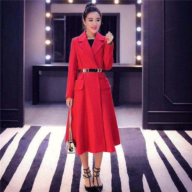 Red Woolen Coat 2018 Winter Coat Women Elegant Long Wool Jacket Women Manteau Femme Vogue Woolen Overcoat Parka Maxi Coats C3591 1