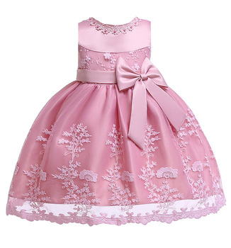4180 Toddler Lace Bow Costume Princess Baby Girls Dress Summer Wedding Party Kids Dresses For Girls Wholesale baby girl clothes