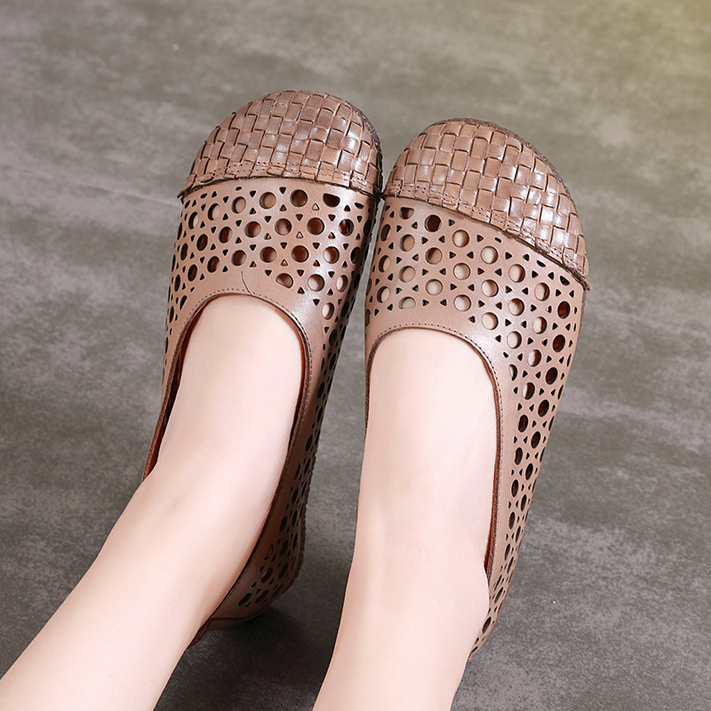 Moccasins Shoes Lady Latest Design VALLU Flat Shoes Woman Genuine Leather Cut Out Daily Driving Shoes