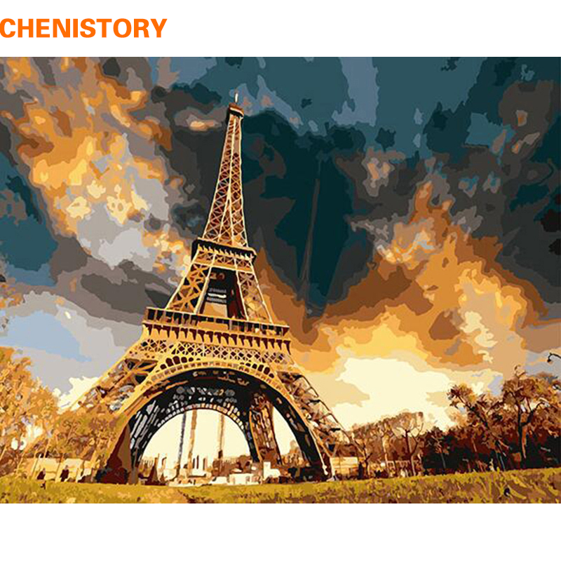 CHENISTORY Peinture Abstraite La Tour Eiffel DIY Peinture Par Numéros Paysage Moderne Mur Art Peinture Pour Le Salon Décoration