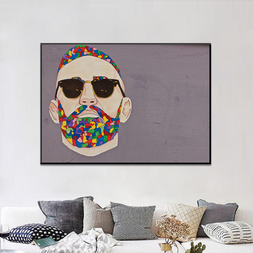 Unframed Canvas Painting Colored Mustache And Hair Sunglasses Man Print Painting Posters Wall Picture For Living Room Home Decor