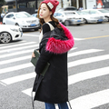 2016 New Coat Women Parka Autumn Winter Jacket Women Raccoon Fur Collar Lady Parka Women Fur Feminine Coat Female Woman Coat