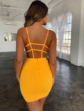Free Shipping Wholesale Summer Sexy Backless Orange Bandage Dress 2019 Knitted Elastic Party