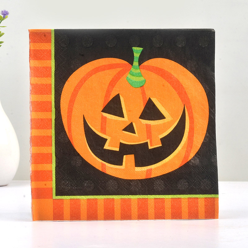 20PCS Paper Napkin 100% Virgin Wood Tissue Paper Napkins For Home Halloween Pumpkin Black Napkin Night Party Decoration Gift