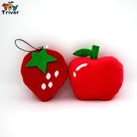Groothandel 100 stks Kawaii Pluche Aardbei Apple Hanger Speelgoed Pop Gevulde Fruit Bruiloft Verjaardagscadeau Kerstcadeau Accessoire