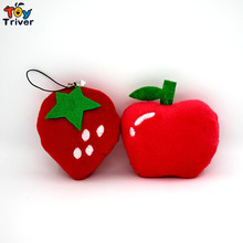 Wholesale 100pcs Kawaii Plush Strawberry Apple Pendant Toys Doll Stuffed Fruit Wedding Party Birthday Christmas Gift Accessory