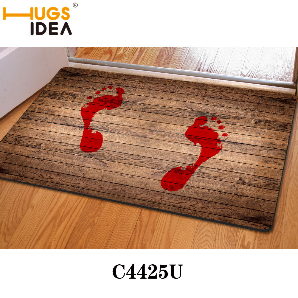 Funny bathroom rugs - Hugsidea 40 60cm Thin Novelty Blood Foot Prints Carpets And Rugs Water Absorption Non