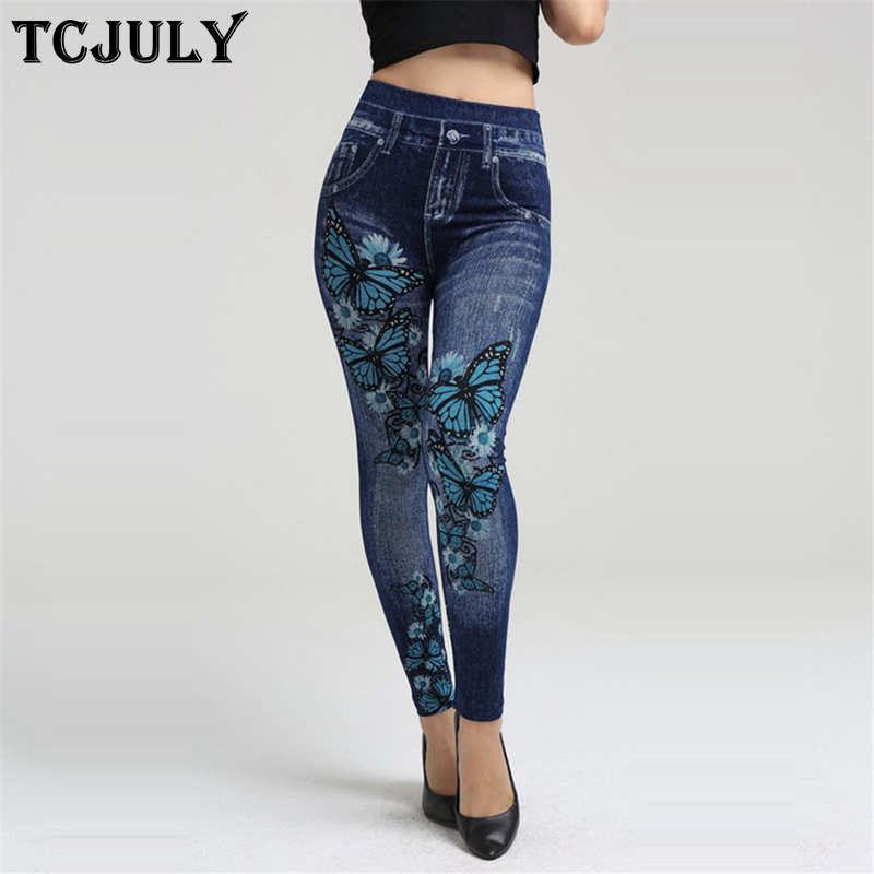 TCJULY New Arrival Cotton   Leggings   Jeggings Jeans For Women Skinny Push Up Ankle Length Pants High Waist Stretch Seamless Legins