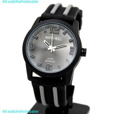 Luxury Brand Unisex Analog Quartz Round Wrist Watch Japan PC21J Movement Black Soft Silicone Strap Black Dial Water Resistant
