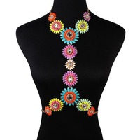 Elegant Women Colorful Stone Crystal Flower Cluster Choker Collar Bib Statement Necklace Pendant Cross Chain Jewelry