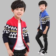 2016Children Boys Cardigan Sweater Coat Hedging High Collar Knitted Shirt Cuhk Children Clothes Fall Winter Sweater Clothes AS31
