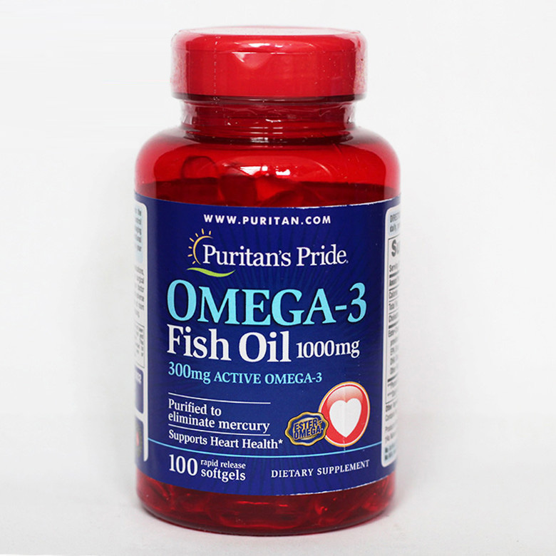 Omega-3 Fish Oil 1000 mg Active Omega-3 300 mg purified to eliminate mercury supports heart health 100 pcs