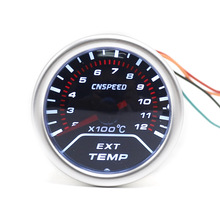 CNSPEED  52mm EXT EGT Car Auto Exhaust Gas Temp Gauge With Sensor Smoke Lens Car Exhaust Temperature Meter White LED