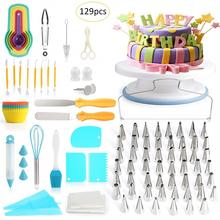 129 Piece Cake Decorating Supplies Turntable Piping Tip Nozzle Pastry Bag Set DIY Baking Tool