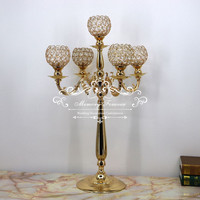 75 cm Tall 5 arms Metal Gold Crystal Candle Holder Wedding Candelabra Table Centerpiece Event Road Lead Candle Stand