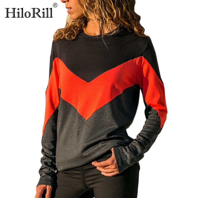 HiloRill Casual Patchwork Pullovers Women 2020 Autumn Long Sleeve O Neck Sweatshirts Fashion Color Block Stripe Streetwear Tops