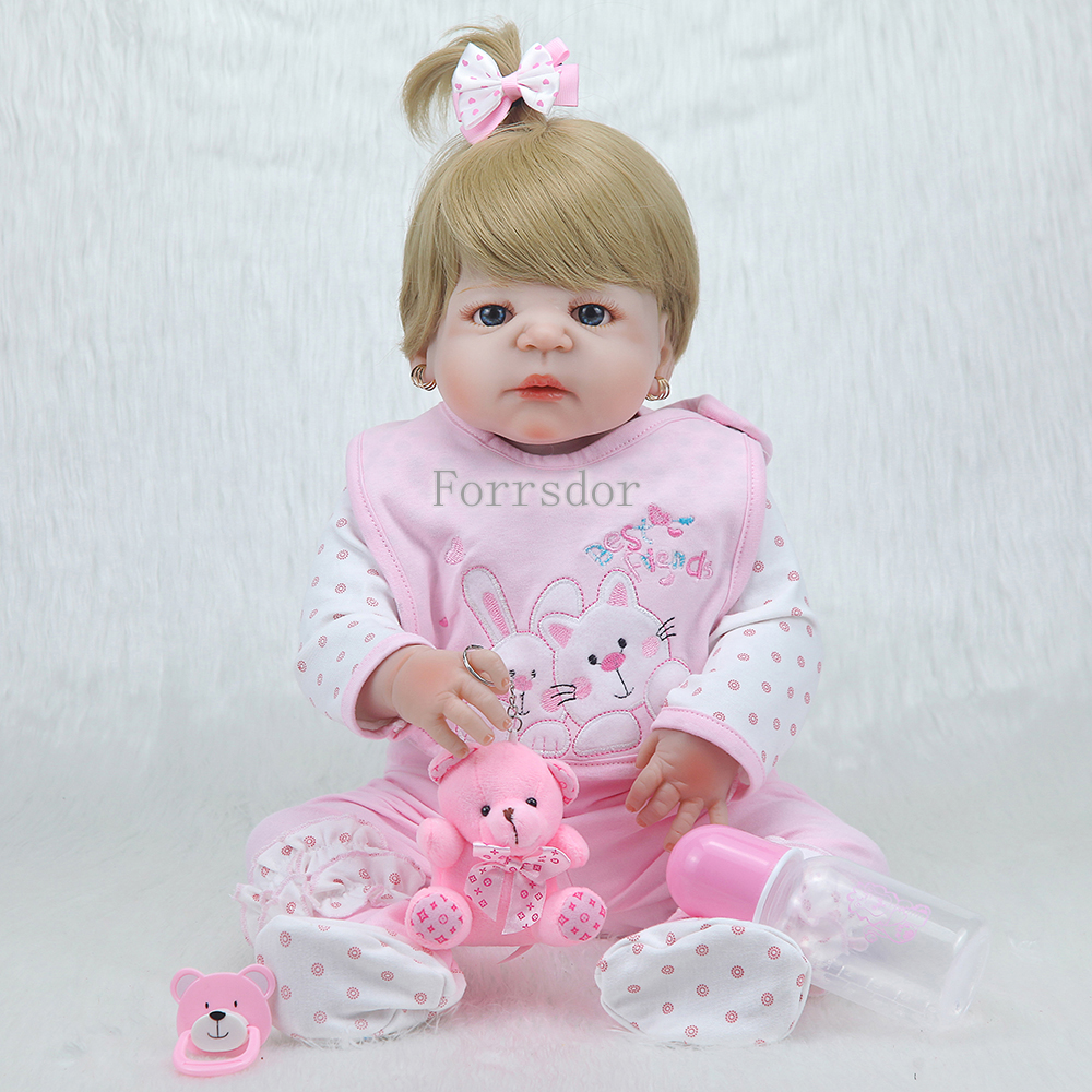 New doll reborn baby toys 22 real full silicone reborn dolls Brown hair wig princess dolls