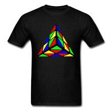 Rainbow Pyraminx Cube T Shirt High Quality Short Sleeve Summer Tshirt 100% Cotton Crewneck Men Tops Magic Tshirts