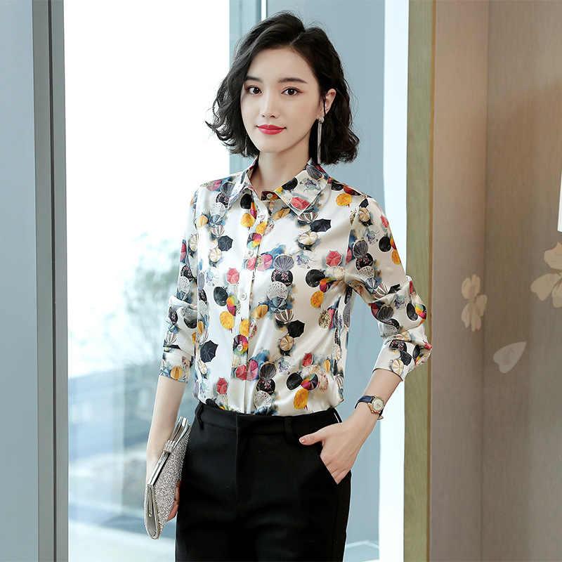 68a6f75fb4f ... Женские рубашки из натурального шелка вязаные с длинным рукавом Блузы  OL Большие женские рубашки удобные дышащие ...