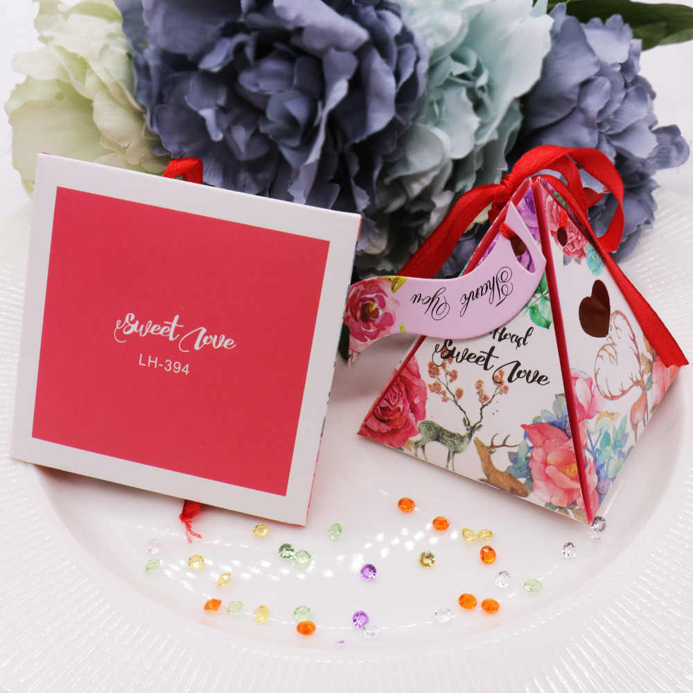 50 pcs/lot lovely lovers candy box wedding paper small gift package for the guest pink storage paper box supplies