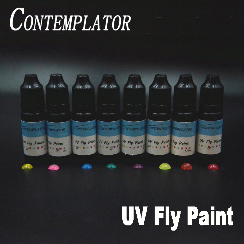 New 2bottles UV Fly paint 2colors combo fly tying resin for fishing cures in seconds medium thick clear colorful glue