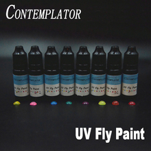 New 2bottles UV Fly paint 2colors combo fly tying resin for fishing cures in seconds medium thick clear colorful UV resin glue hot sales fishing quick drying glue fly tying lure uv clear finish glue flow hard type uv resin glue diy fishing accessories
