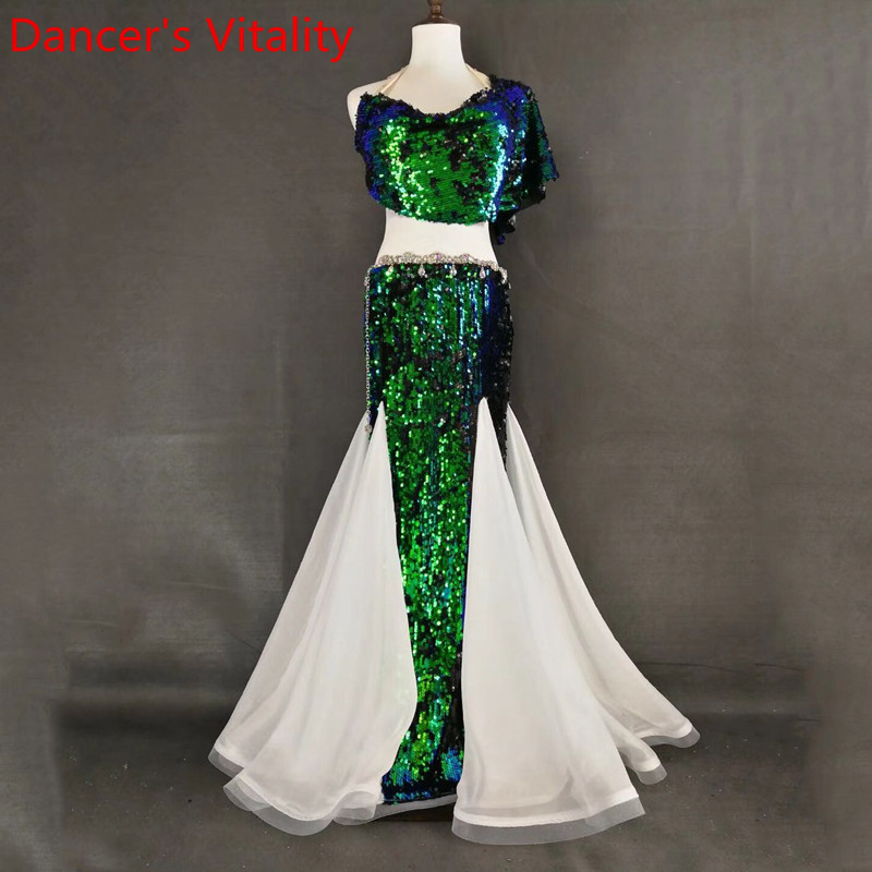 Women Belly Dance Practice Sling Sequin Top Splicing Skirt Oriental Indian Dance Wear Performance Green 3Colors