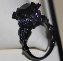 빅토리아 Wieck 멋진 빈티지 쥬얼리 10KT 블랙 골드 채워진 블랙 AAA 큐빅 지르코니아 여성 결혼 해골 밴드 반지 선물 Size5 11