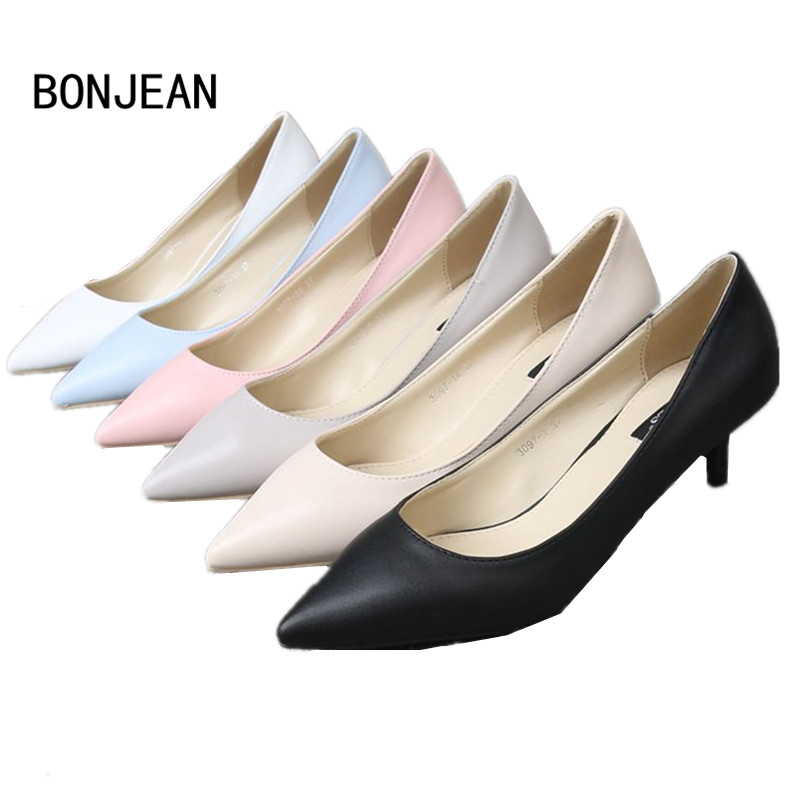 13Color 2017 Spring Woman Leather Office Shoes Pointed Toe Ladies Pumps Women low Thin Heel Black Pink Pumps Heels Plus size 10 women genuine leather sandals fashion pointed toe causal shoes buckle solid color black pink orange spring shoes square heel