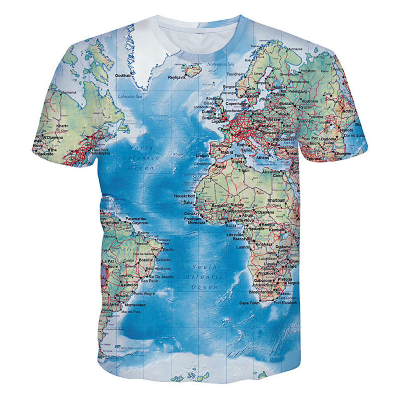 Cool 3d Printed T Shirts World Map Graphic Tshirt Homme