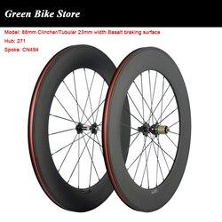 700C drogi karbonowe koła do roweru rurowy 88mm węglowe koła et 23mm szerokość Clincher koła bazalt powierzchnia hamowania w Koła roweru od Sport i rozrywka na