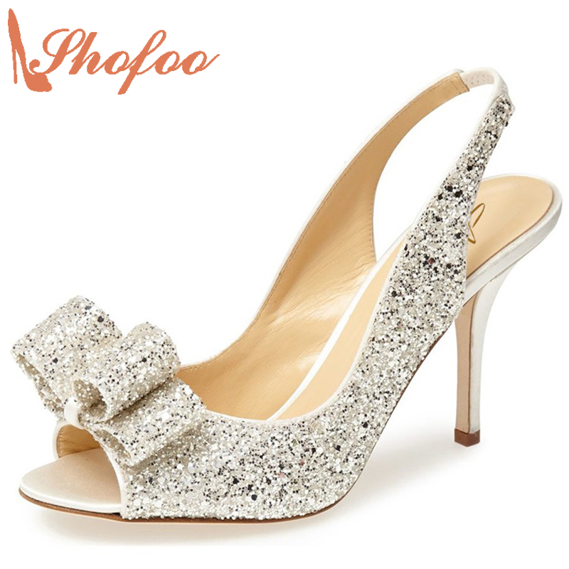 ФОТО Shofoo 2017 New Arrive Women Sweet Peep Toe  High Heels  Slingback Pumps Shoes Dress&Wedding&Party Woman, Large Size 4-16