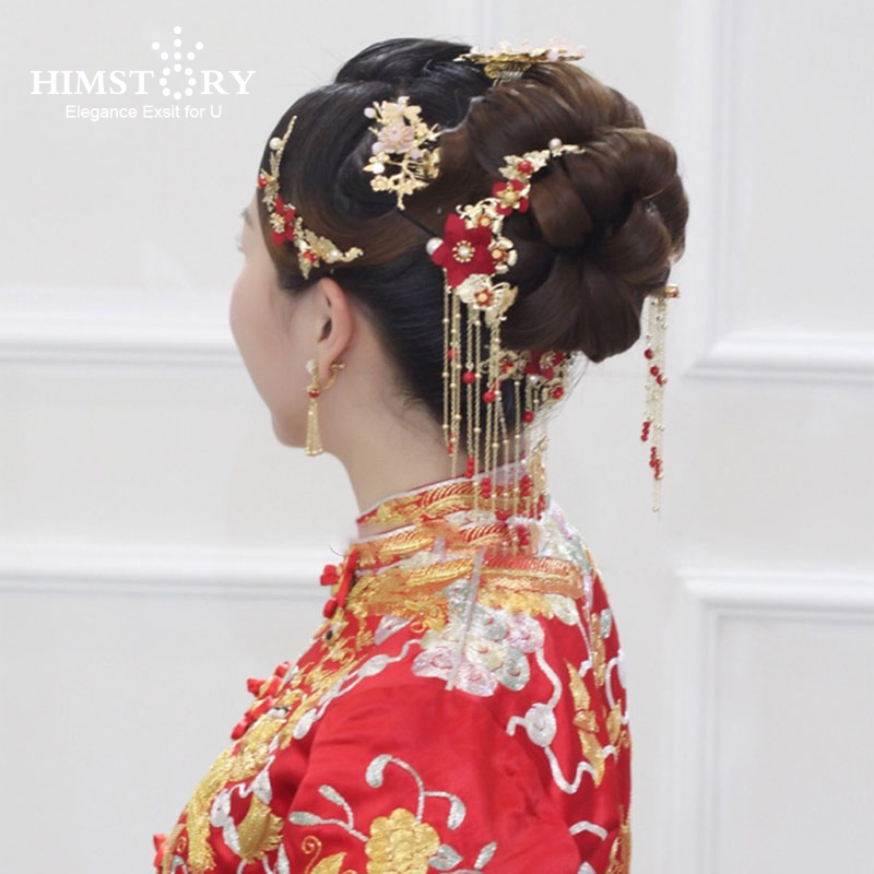 Traditional Chinese Bride Headdress Costume Hairclips Red Flower Hairpin Wedding Hairwear photography Hair Stick Accessory han guang traditional chinese wedding bride hair tiaras for xiuhefu hair accessory set for costume