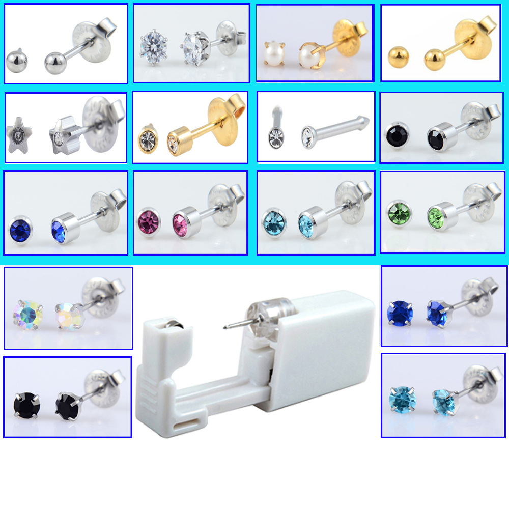 HTB1AgLMaErrK1RkSne1q6ArVVXaV - 1Unit Disposable Sterile Ear Piercing Gun Unit Cartilage Tragus Helix Piercing Gun Tool Kit Steel Stud Earring Tool