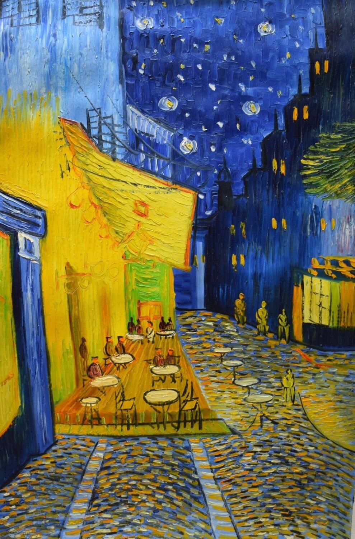 Célèbre Van Gogh peinture à l'huile Reproduction café terrasse la nuit peint à la main toile abstraite mur Art photo décoration de la maison