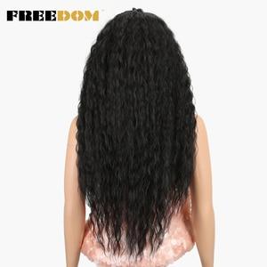 Image 4 - חופש סינטטי תחרה מול פאות 40 סעודת ארוך עמוק טבעי גל Ombre בלונד 613 צבע שיער פאות שחור נשים אופנה