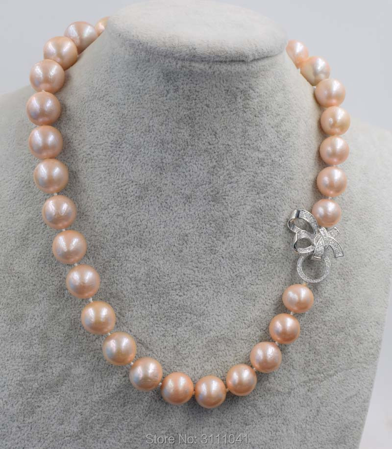 Edsion freshwater pearl pink near round 12-15mm necklace 18inch FPPJ wholesale beads nature freshwater pearl white near round and red jade leopard clasp necklace 18inch fppj wholesale beads nature