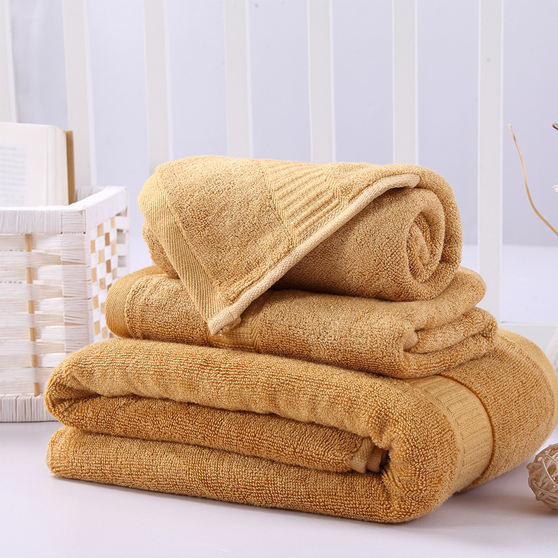 Towel Set For Bathroom Plush Bamboo Cotton Absorbent 1