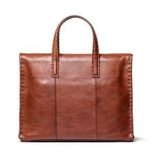 Men Business Briefcase Crazy Horse Genuine Leather Shoulder Portfolio Laptop Bag Fashion Document Bag Cow Leather Office Handbag цена