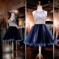 High Quality Beading Crystal Homecoming Dresses Short Prom Dress Dark Navy Tulle Knee Length Ball Gowns for Graduation 2019 Sexy