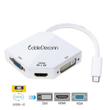 USB C Adapter to HDMI 4K Adapter USB 3.1 Hub Type c to VGA HDMI DVI Converter for Smartphone Samsung S8 Macbook
