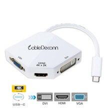 USB C מתאם כדי HDMI 4K מתאם USB 3.1 רכזת סוג c כדי VGA HDMI DVI ממיר עבור smartphone סמסונג S8 Macbook