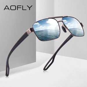 Image 1 - AOFLY 디자인 남자 편광 된 선글라스 금속 남자의 태양 안경 운전 광장 음영 Oculos masculino 남성 안경 고글 AF8194