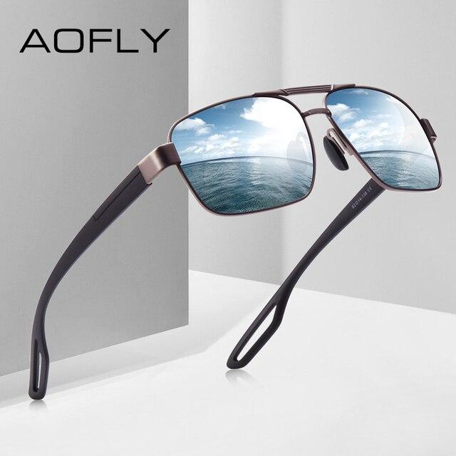 AOFLY 디자인 남자 편광 된 선글라스 금속 남자의 태양 안경 운전 광장 음영 Oculos masculino 남성 안경 고글 AF8194