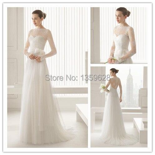 Elegant Long Sleeves Illusion Neckline Lace Cover Back Muslim Wedding Dress Rse 039 Vintage