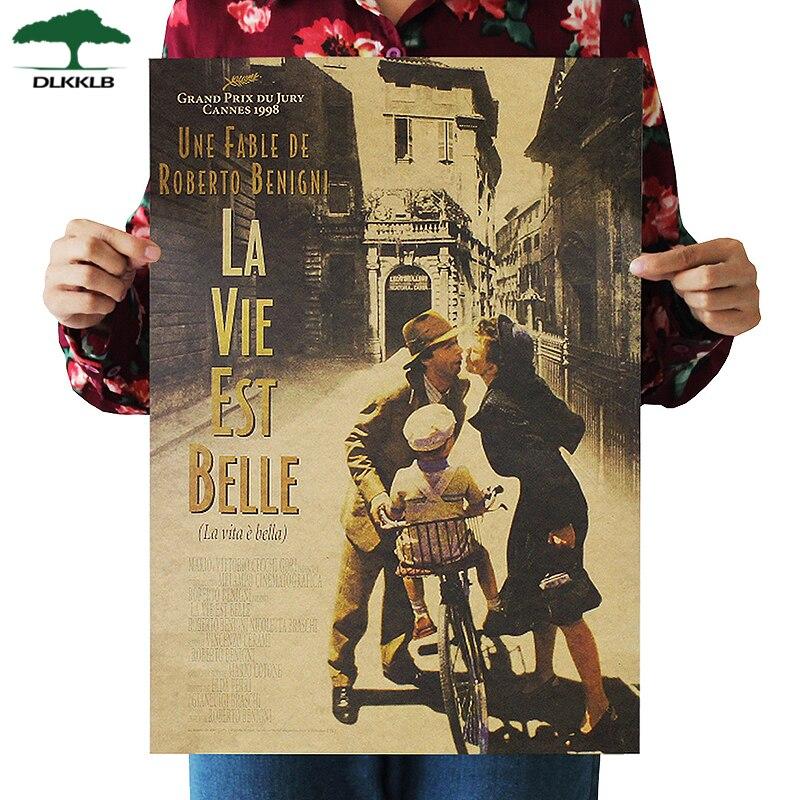 DLKKLB La Vita Bella Beautiful Life Classic Movie Kraft Paper Poster Bar Cafe Decoration Painting Wall Stickers 36 X 51.5cm