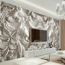 Рельефные 3d обои в европейском стиле с изображением цветов