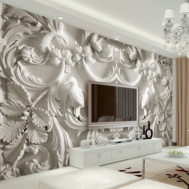 European Style 3D Relief Flower Murals Wallpaper For Living Room Sofa Background Decor Wall Cloth Waterproof Wall Covering 3 D